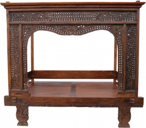 Historic four-poster bed, teak day bed - model 8