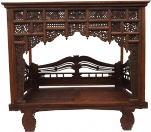 Historical four-poster bed, teak day bed - model 10