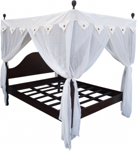Canopy bed `Ubud` made of dark teak wood