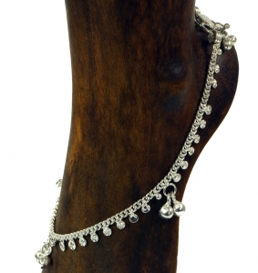 Indian, oriental white metal foot chain
