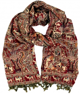Weicher Pashmina Schal / Stola mit - Paisley Muster rot/creme