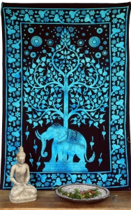 Indisches Wandtuch, Batik Tagesdecke - Tree of Life Elefant / tür..