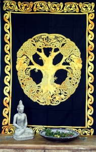 Indisches Wandtuch, Batik Tagesdecke - Tree of Life / goldgelb