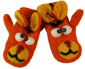 Children`s gloves, animal gloves Donkey