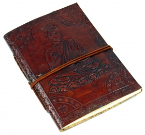 Leather book, notebook, diary, writing book with cover `Buddha`.