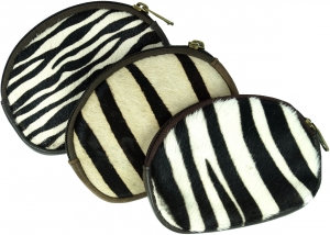 Leather wallet with zebra pattern - black/white