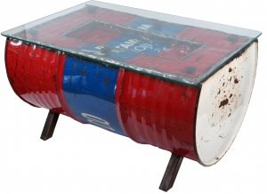 Metal coffee table made of recycled diesel barrel with glass top
