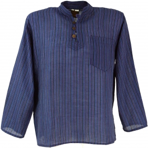 Nepal Fisherman Shirt Striped Goa Hippie Shirt - Blue
