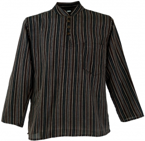 Nepal Fisherman Shirt Striped Goa Hippie Shirt - Brown