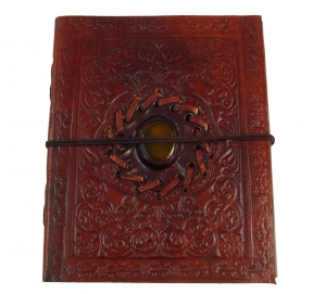notebook, leather book, diary with decorative stone 12*15 cm
