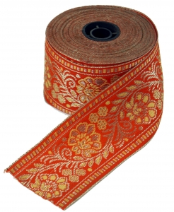 Orient border, Indian woven ribbon with flowers 6 cm wide, 1 m - ..