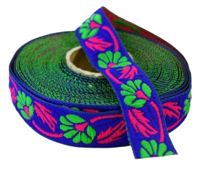 Orient border, woven ribbon from India 2,5 cm wide 1 m - blue