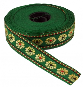 Orient border, woven ribbon from India 2 cm wide 1 m - green