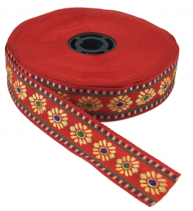 Orient border, woven ribbon from India 2 cm wide 1 m - red
