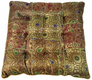Oriental brocade quilt cushion, chair cushion 40*40 cm - gold