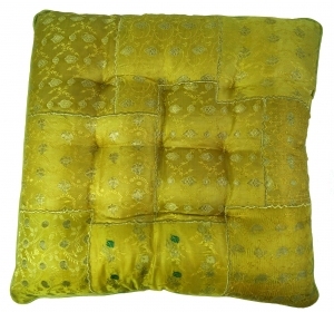 Oriental brocade quilt cushion, chair cushion 40*40 cm - henna gr..