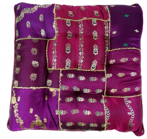 Oriental brocade quilt cushion, chair cushion 40*40 cm - purple