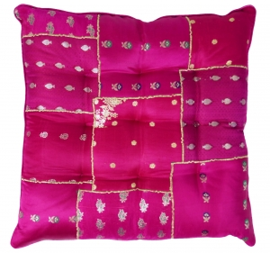 Oriental brocade quilt cushion, chair cushion 40*40 cm - pink