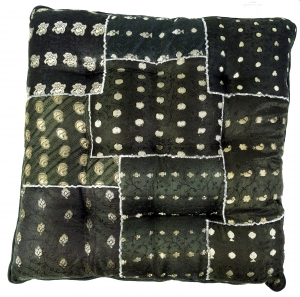 Oriental brocade quilt cushion, chair cushion 40*40 cm - black