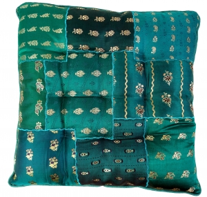 Oriental brocade quilt cushion, chair cushion 40*40 cm - turquois..