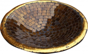 brown striped mosaic bowl round
