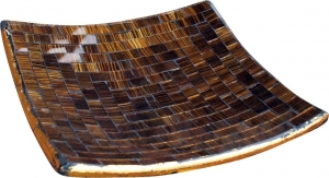 brown striped mosaic bowl angular
