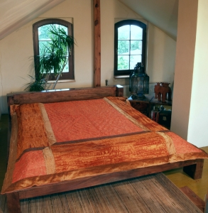 Brocade / velvet quilt, bedspread - orange
