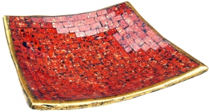 orange square mosaic bowl