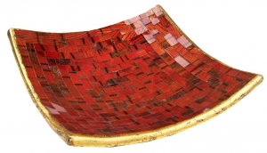 red striped mosaic bowl angular