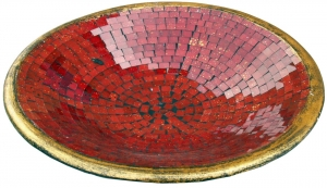 red mosaic bowl round