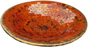 orange striped mosaic bowl round