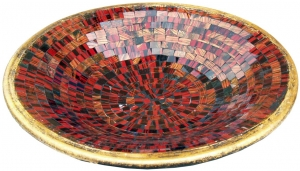 red striped mosaic bowl round