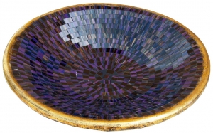 purple striped mosaic bowl round