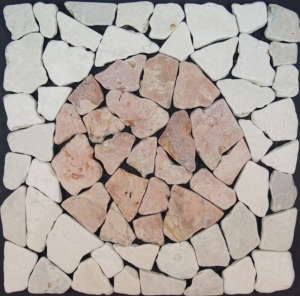 Mosaic tile with marble circle (Mo-09)