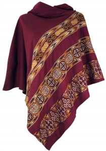 Poncho Hippie, Boho Poncho with hood - bordeaux red