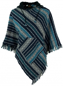 Poncho Hippie chic, Andean poncho with fringes