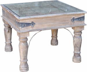 Square coffee table, coffee table with glass top (JH3-155)