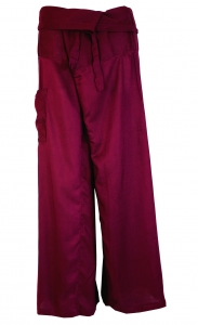 Rayon fisherman pants, wrap pants, yoga pants - plum