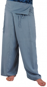 Rayon Fisherman Pants, yoga pants - dove blue