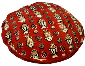 Round block print cushion cover - fish red
