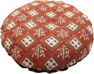 Round block print pillow case - Turtle red