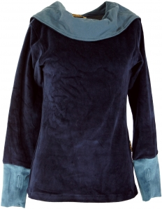 Velvet Hoody Boho chic, long sleeve shirt with shawl collar - blu..