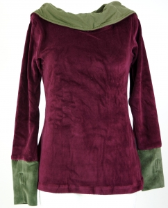 Velvet Hoody Boho chic, long sleeve shirt with shawl collar - bor..
