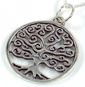 Silver Pendant Tree of Life, round