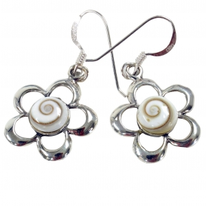 Silver earrings with `Shiva ,flower shape
