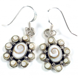 Silver earrings with `Shiva, oval flower shape