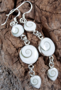 Silver earrings with `Shiva shell` - 1