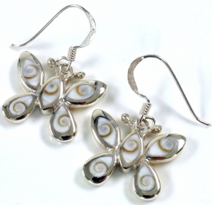 Silver earrings with `Shiva shell`, butterfly