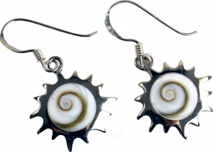 Silver earrings with `Shiva Sun