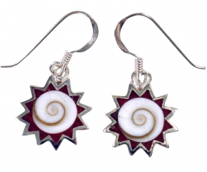 Silver earrings with `Shiva sun, red rays